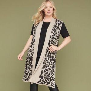 Lane Bryant Jackets & Coats - Lane Bryant Leopard Jaquard Sweater vest duster